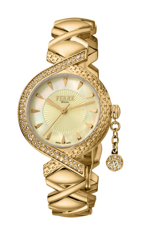 Ferre Milano Ladies Champagne MOP Dial Watch