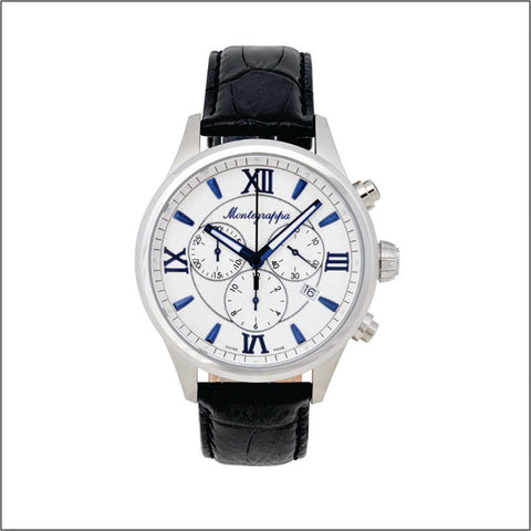 Montegrappa Watch Fortuna Gents Silver Dial w/ Blue