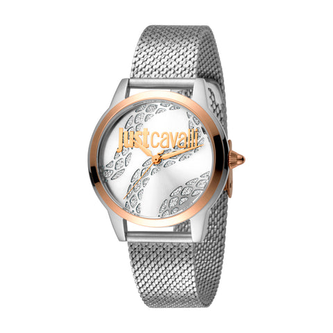 Just Cavalli Watch Ladies Silver Dial SS Mesh
