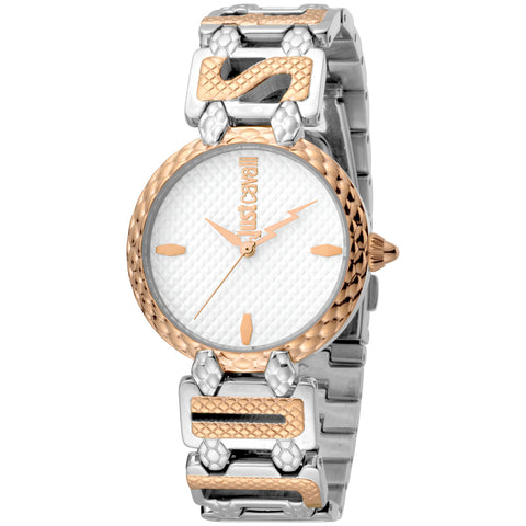 Just Cavalli Ladies White Dial Two -Tone Bracelet