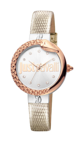 Just Cavalli Ladies Silver Dial Leather Watch
