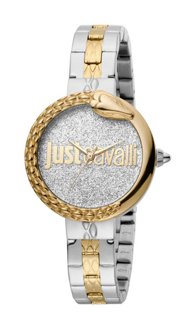 Just Cavalli Ladies Silver Glitter Dial Bracelet Watch