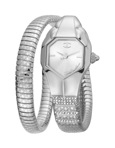 JUST CAVALLI LADIES BRACELET WATCH SILVER DIAL