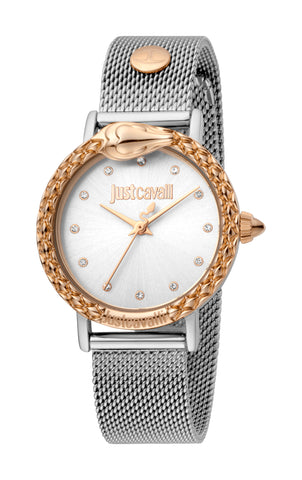 Just Cavalli Watch Ladies Silver sunray Dial