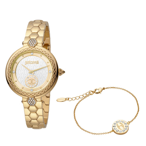 Just Cavalli Watch Ladies Silver pattern (inner)/ champagne (outer) Dial