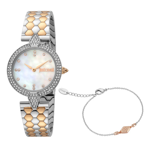 Just Cavalli Watch Women Two Tone Silver & Rose Gold 24 mm White  MOP Dial