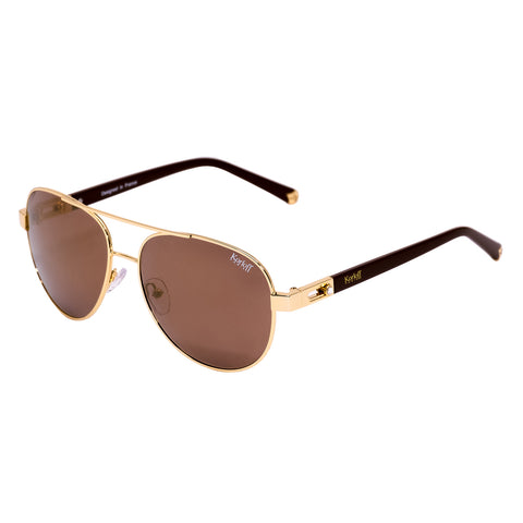 KORLOFF SUNGLASS GOLD/GOLD LENS LADIES