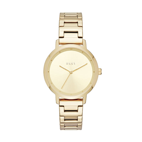 DKNY Ladies Gold Sunray Dial Watch