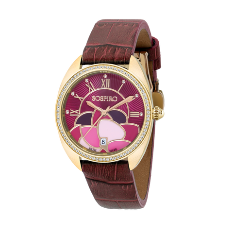 Sospiro Burgundy Dial Ladies Watch
