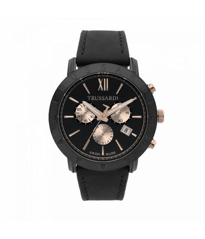 Trussardi Nestor Black Dial Gents Watch
