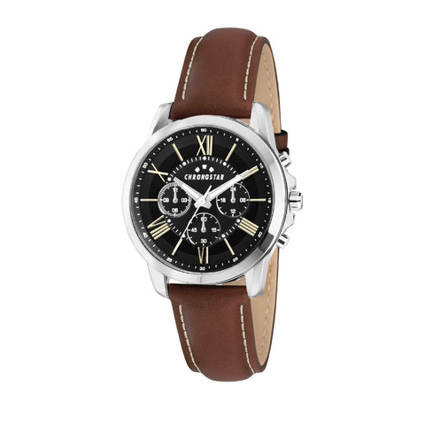 CHRONOSTAR Watch Gents MULTI BLACK DIAL BROWN ST