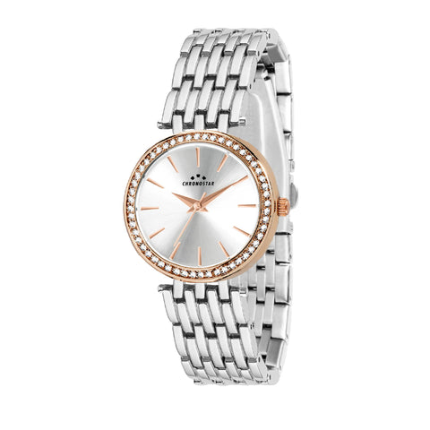 CHRONOSTAR Watch Ladies SILVER DIAL RG+SS BR