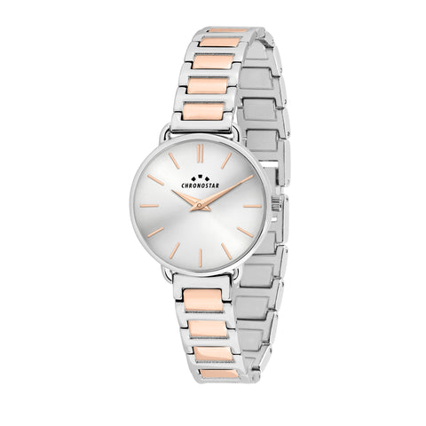 CHRONOSTAR Watch Ladies SILVER DIAL BR SS+RG
