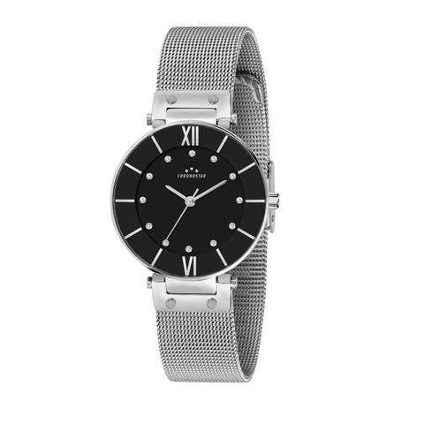 CHRONOSTAR Watch Ladies NUIT BLACK DIAL MESH BR SS