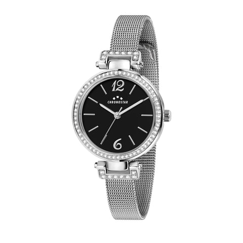 CHRONOSTAR Watch Ladies BLACK DIAL MESH BR SS