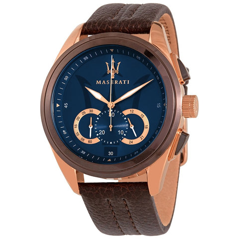 Maserati Watch Gents Blue Dial Brown Strap