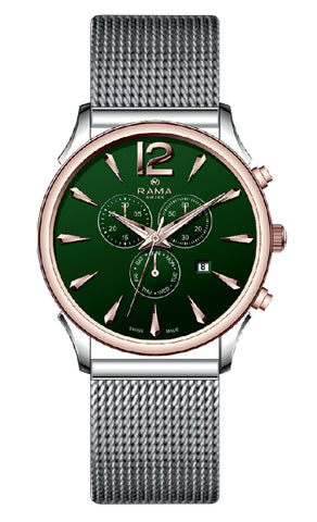 RAMA SWISS Gents Green DIAL SS Mesh WATCH