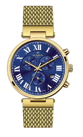 RAMA SWISS Gents Blue DIAL GOLD Mesh WATCH