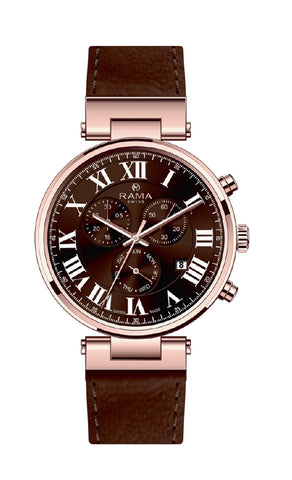 RAMA SWISS Gents Red DIAL BROWN Strap WATCH