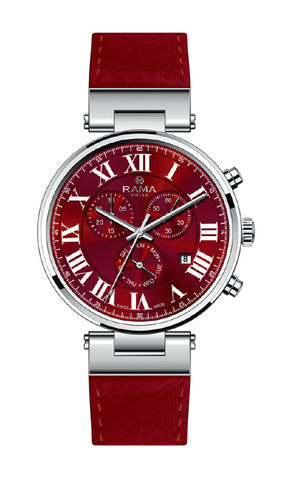 RAMA SWISS GENTS RED DIAL RED STRAP WATCH