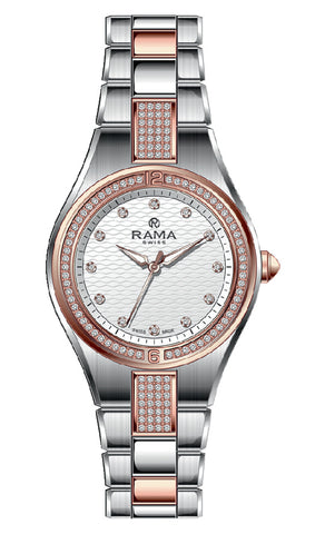 RAMA SWISS Ladies White DIAL SS/RG Metal Band WATCH