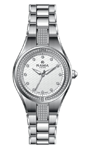 RAMA SWISS Ladies White DIAL SS Metal Band WATCH