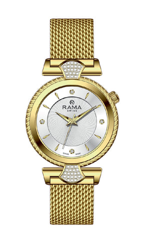 RAMA SWISS  Ladies White DIAL GP Mesh Band WATCH