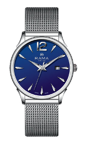 RAMA SWISS Gents Blue DIAL SS Mesh WATCH