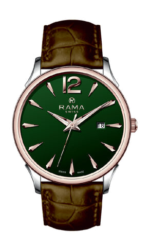 RAMA SWISS  Gents Green DIAL BROWN Strap WATCH