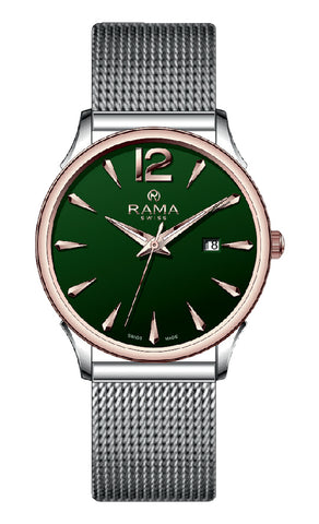 RAMA SWISS Gents Green DIAL SS Mesh Bnd WATCH