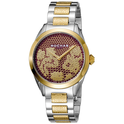 Rochas Paris Red, Gold plated Dial Ladies Watch