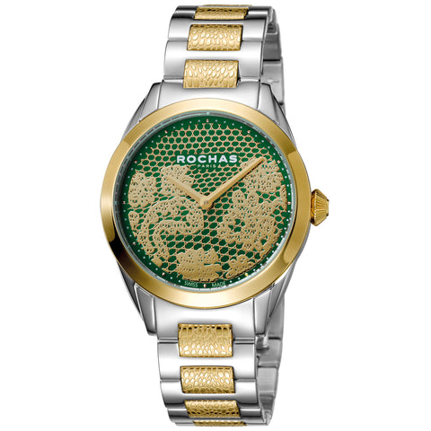 Rochas Paris Green, Gold plated Dial Ladies Watch