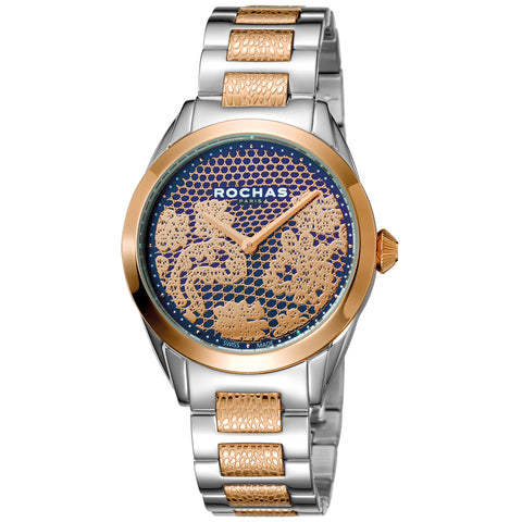 Rochas Paris Blue, Rose Gold Dial Ladies Watch