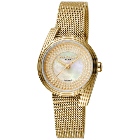 ROCHAS LADIES CHAMPAGNE DIAL GP MESH WATCH
