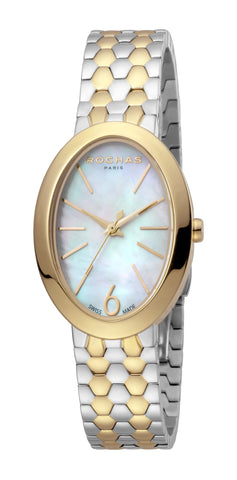 ROCHAS PARIS WATCH LADIES WHITE MOP DIAL SS/GP BRACELET