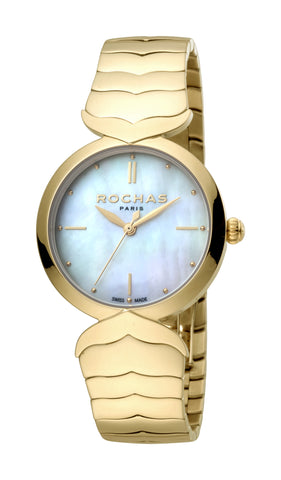 ROCHAS PARIS WATCH LADIES WHITE MOP DIAL GP BRACELET