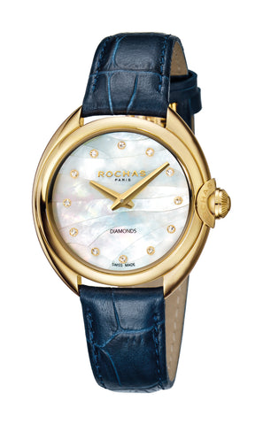 ROCHAS PARIS LA VAGUE LADIES CHAMPAGNE DIAL BLUE STRAP WATCH