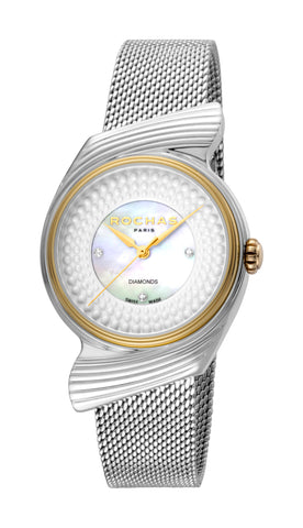 ROCHAS PARIS LadiesWhite MOP Dial SS Mesh Watch