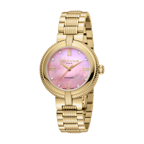 ROCHAS PARIS Ladies GP Case L. Pink Dial Bracelet Watch-RP2L018M0031