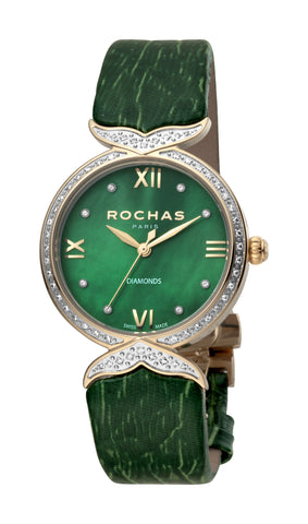 ROCHAS PARIS WATCH LADIES D GREEN DIAL D. GREEN STRAP