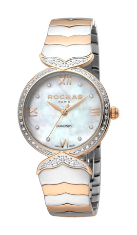 ROCHAS PARIS WATCH LADIES WHITE MOP DIAL SS/RG BRACELET