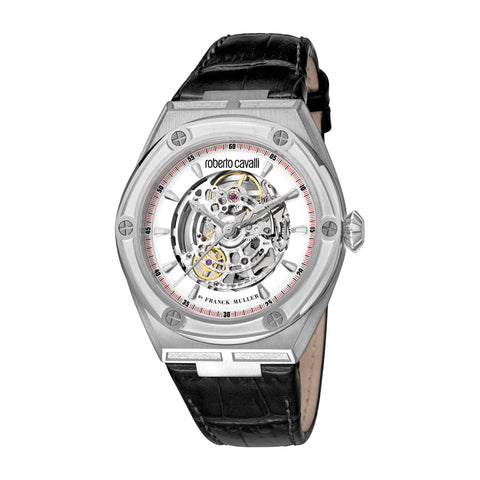 Roberto Cavalli by FM Men Black Leather Strap Watch Silver Dial