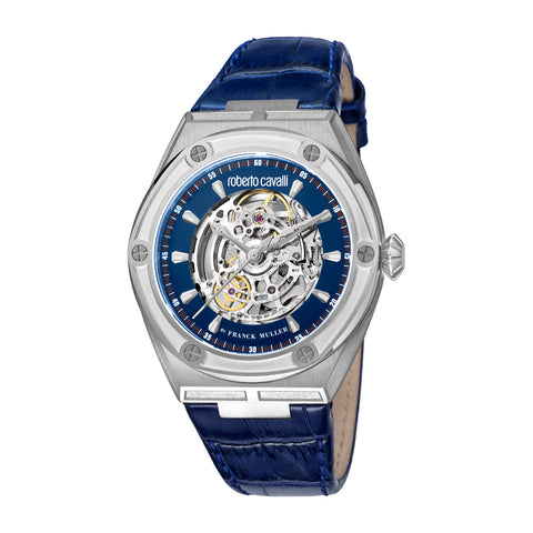Roberto Cavalli by FM Men Dark Blue Leather Strap Watch Dark Blue Dial