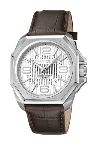 Roberto Cavalli by FM Men Dark brown Leather Strap Watch Silver brush Dial