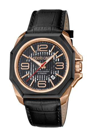 Roberto Cavalli by FM Men Black Leather Strap Watch Carbon effect Dial