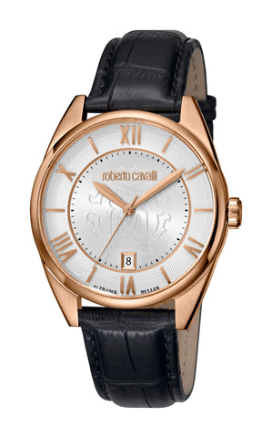Roberto Cavalli Silver Sunray Dial Gents Watch