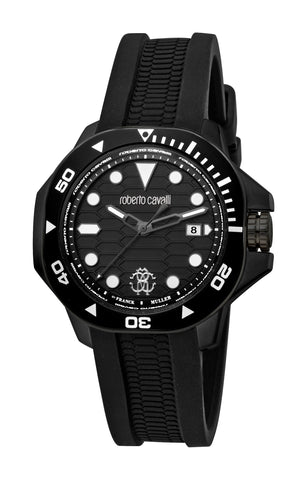 Roberto Cavalli Black Dial Gents Watch