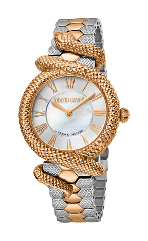 Roberto Cavalli by FM Watch Ladies Silver White MOP Dial