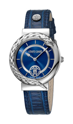Roberto Cavalli Dark Blue Sunray Dial Ladies Watch