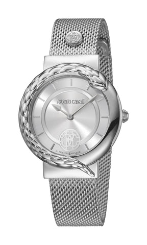 Roberto Cavalli Silver Sunray Dial Ladies Watch